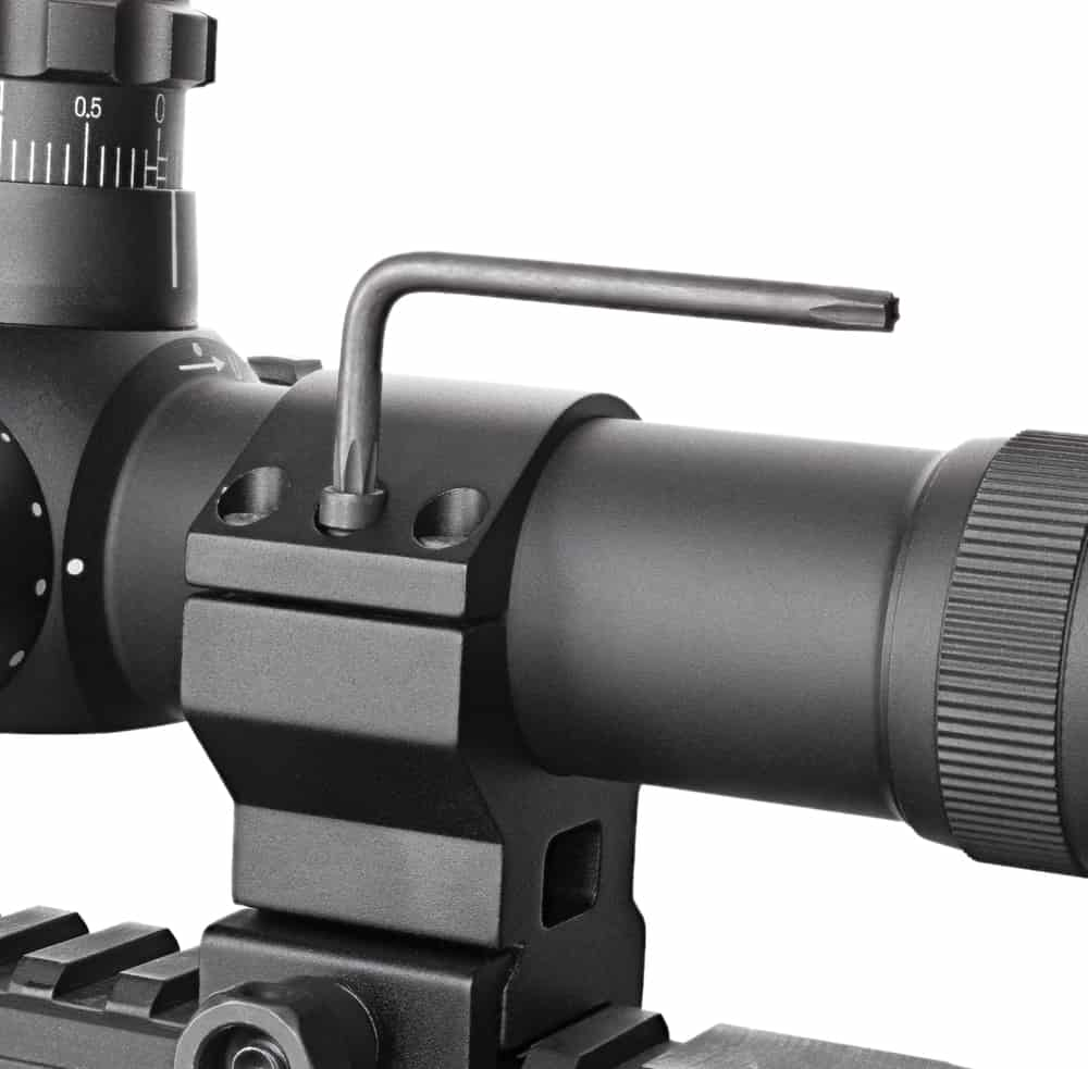 Tighten the rings or mounts and secure the scope