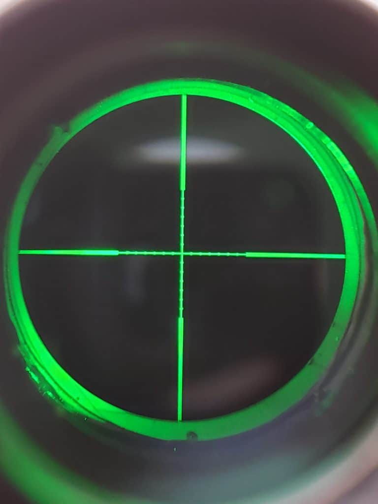Pinty MRAD Reticle with red and green and blue